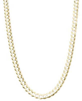 s thick men p jewelry gold necklace mens chain link filled cuban top solid yellow