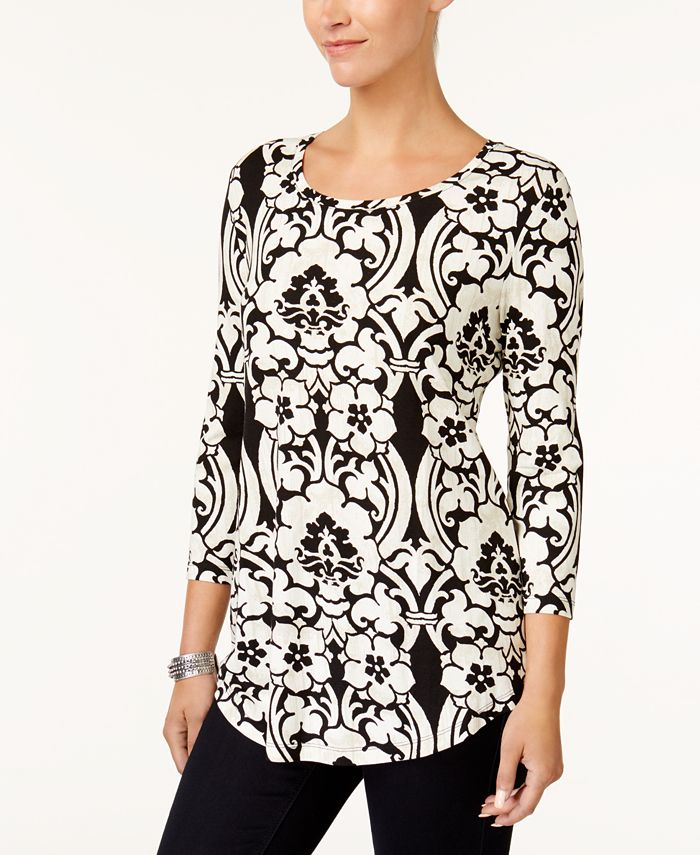 JM Collection - 3/4-Sleeve Printed Top