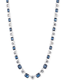 Anne Klein Silver-Tone Bezel-Set Stone Collar Necklace
