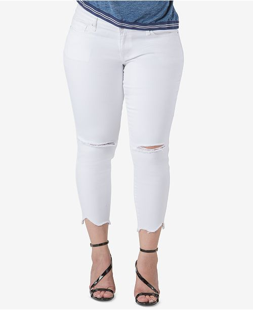 standards and practices Trendy Plus Size Ripped Skinny Jeans
