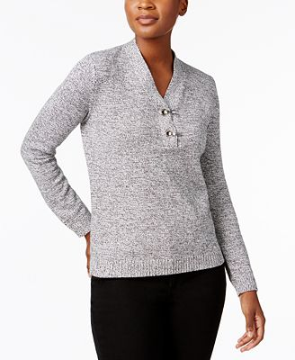 Karen Scott Petite Cotton Henley Sweater, Created for Macy's ...