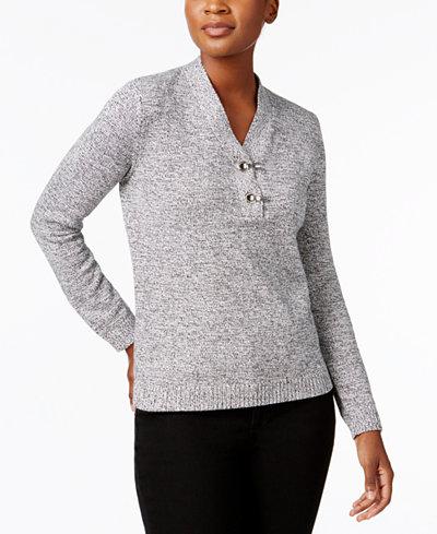 Karen Scott Petite Cotton Henley Sweater, Created for Macy's ...