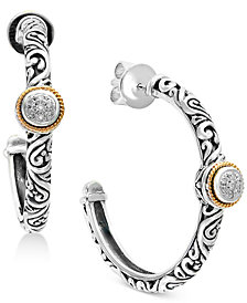 Balissima by EFFY® Diamond Accent Two-Tone Hoop Earrings in Sterling Silver and 18k Gold
