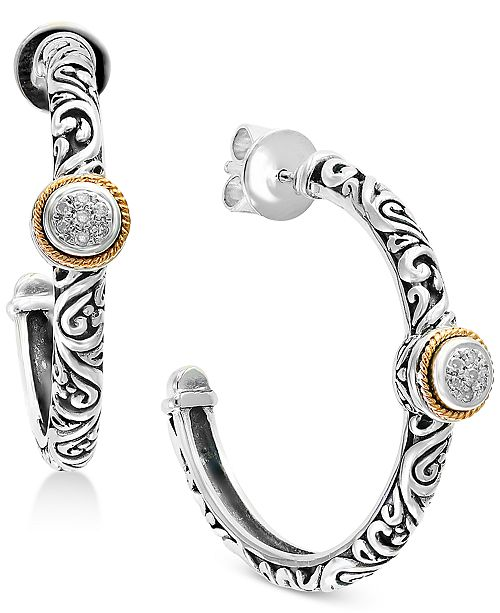EFFY Collection Balissima by EFFY® Diamond Accent Two-Tone Hoop Earrings in Sterling Silver and 18k Gold