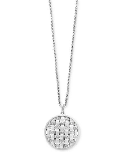 Balissima by EFFY® Diamond Weave Disc Pendant Necklace (1/4 ct. t.w.) in Sterling Silver