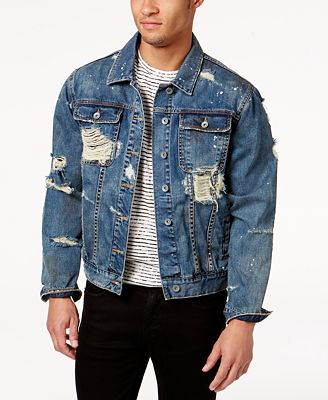 LRG Men's Ripped Denim Jacket - Coats & Jackets - Men - Macy's