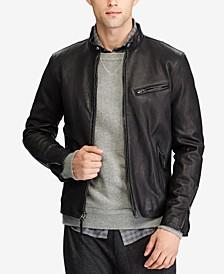 폴로 랄프로렌 Polo Ralph Lauren Mens Cafe Racer Leather Jacket,Polo Black