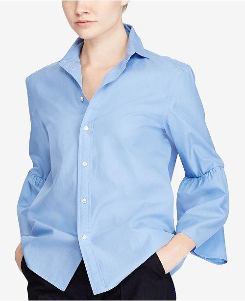 d24eb49e0 Polo Ralph Lauren Bell-Sleeve Cotton Shirt   Reviews - Tops - Women ...