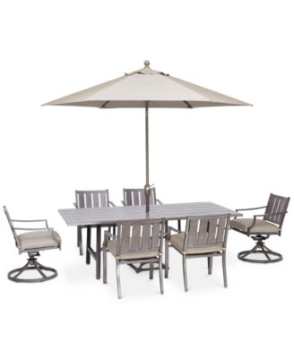 "Wayland Outdoor Aluminum 7-Pc. Dining Set (84"" x 42"" Rectangle Dining Table, 4 Dining Chairs & 2 Swivel Chairs) with Sunbrella® Cushions, Created for Macy's"