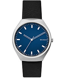 Skagen Men's Grenen Black Leather Strap Watch 40mm