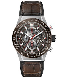 TAG Heuer Men's Swiss Automatic Chronograph Carrera Brown Leather & Rubber Strap Watch 43mm