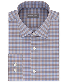 Michael Kors Men's Regular Fit Airsoft Stretch Non-Iron Performance Check Dress Shirt
