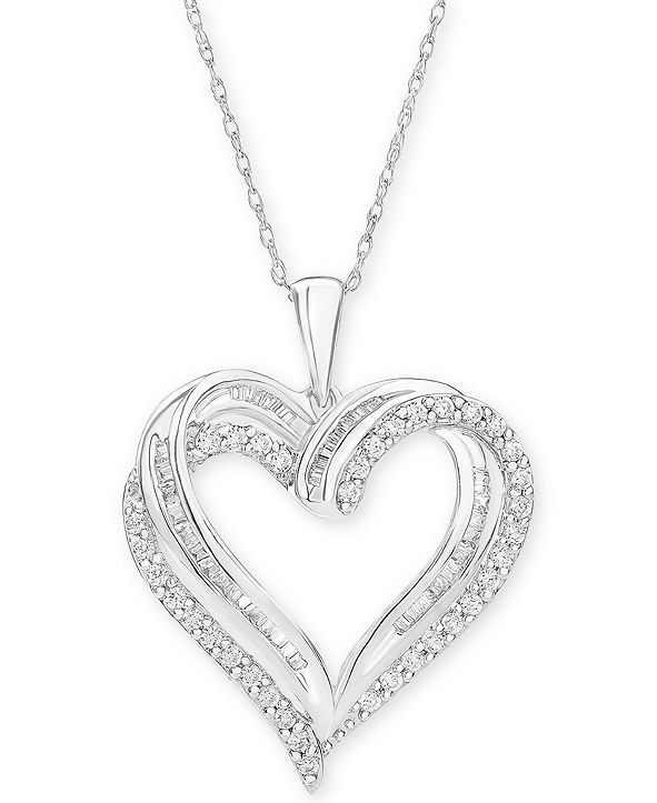 """Macy's Diamond Heart Pendant 18"""" Necklace (1/2 ct. t.w.) in 10k White, Yellow or Rose Gold."""