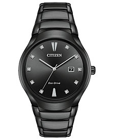 Citizen Eco-Drive Men's Diamond-Accent Black Stainless Steel Bracelet Watch 40mm