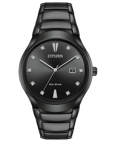 Citizen Eco-Drive Men's Diamond-Accent Black Stainless Steel Bracelet Watch 40mm