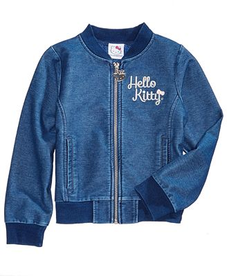 Hello Kitty Little Girls Embroidered Denim Jacket Coats Jackets