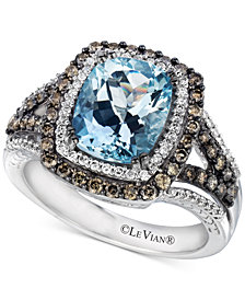Le Vian Chocolatier® Sea Blue Aquamarine® (2 ct. t.w.) & Diamond (3/4 ct. t.w.) Ring in 14k White Gold