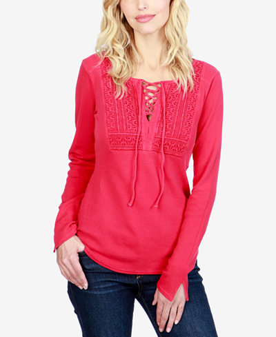 Lucky Brand Cotton Lace-Up Thermal Top