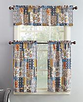 Lichtenberg No. 918 Antoinette 3-Pc. Patchwork-Print Microfiber Rod Pocket Kitchen Curtain Set