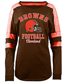 5th & Ocean Women's Cleveland Browns Space Dye Long Sleeve T-Shirt