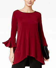 Alfani Ruffle-Sleeve High-Low Top, Created for Macy's
