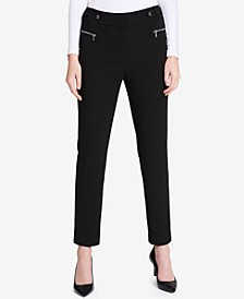 Zip-Pocket Straight-Leg Pants