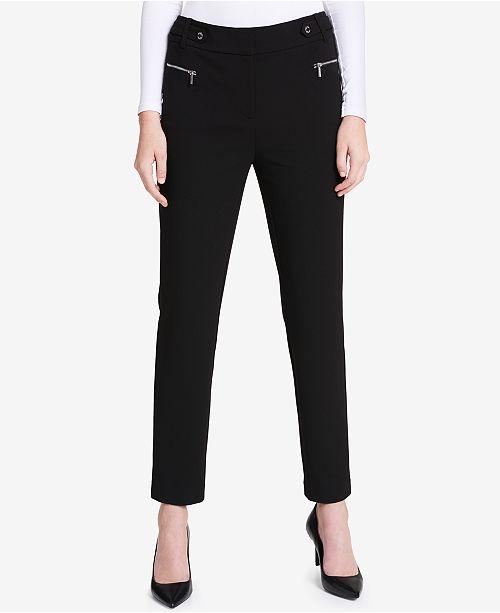Calvin Klein Zip-Pocket Straight-Leg Pants