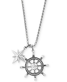 EFFY® Men's Ship's Wheel and Star Pendant Necklace in Sterling Silver