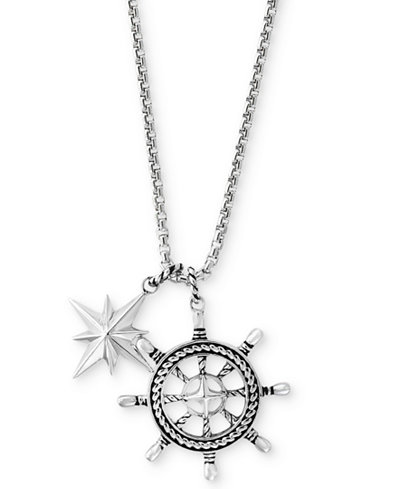Effy mens ships wheel and star pendant necklace in sterling effy mens ships wheel and star pendant necklace in sterling silver aloadofball Choice Image