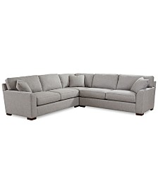 "Carena 3-Pc. Fabric ""L"" Shaped Sectional Sofa, Created for Macy's"