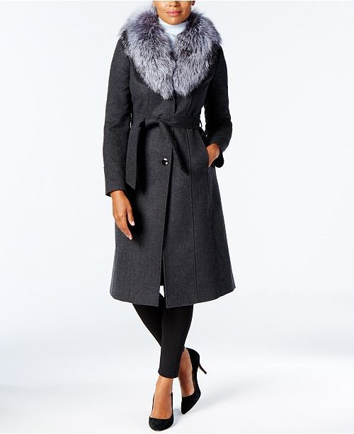 distinctive design top design hot-selling newest Michael Kors Wool-Cashmere Blend Coat with Fox-Fur Trim ...