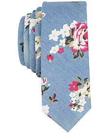Original Penguin Men's Chambray Floral Skinny Tie