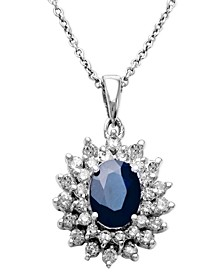 Royalty Inspired by EFFY® Sapphire (1-9/10 ct. t.w.) and Diamond (1 ct. t.w.) Two Row Oval Pendant in 14k White Gold