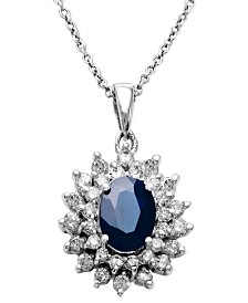 Royalty Inspired by EFFY Sapphire (1-9/10 ct. t.w.) and Diamond (1 ct. t.w.) Two Row Oval Pendant in 14k White Gold