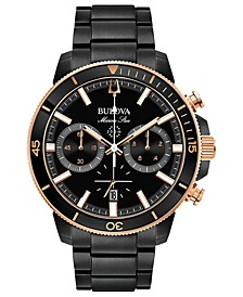Men's Chronograph Marine Star Black Stainless Steel Bracelet Watch 45mm