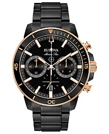 Bulova Men's Chronograph Marine Star Black Stainless Steel Bracelet Watch 45mm