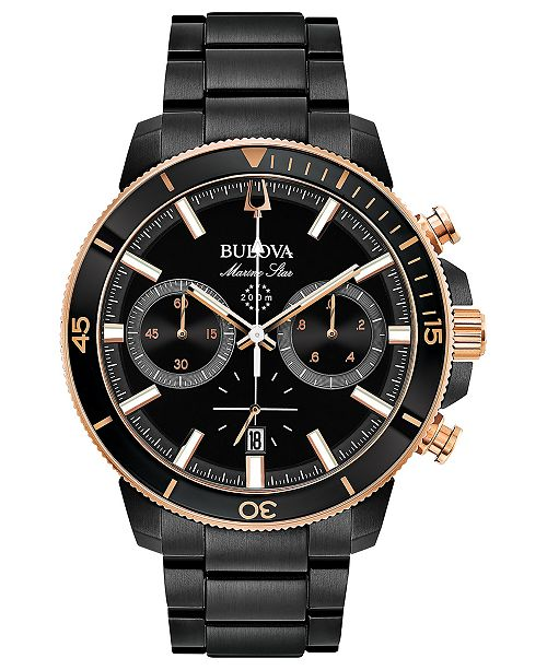 21c3f4832 ... Bulova Men's Chronograph Marine Star Black Stainless Steel Bracelet  Watch ...