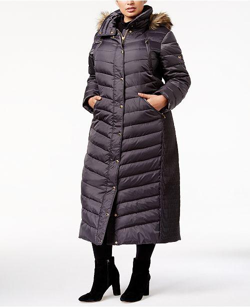 ba6fb930cd Michael Kors Plus Size Faux-Fur-Trim Hooded Maxi Coat   Reviews ...