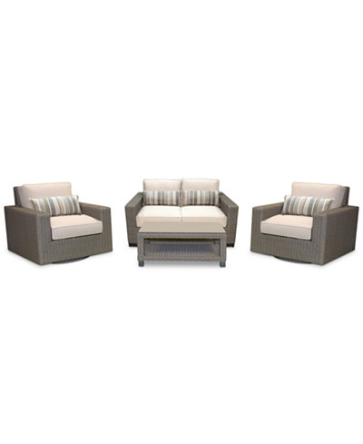 Del Mar 4-Pc. Set (1 Loveseat, 2 Swivel Club Chairs & 1 Coffee Table), Created for Macy's