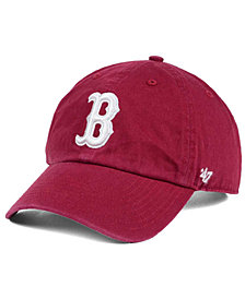 '47 Brand Boston Red Sox Cardinal and White CLEAN UP Cap