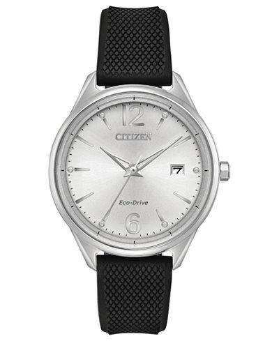 Citizen Eco-Drive Women's Black Silicone Strap Watch 36mm