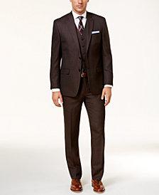 Lauren Ralph Lauren Men's Classic-Fit Chocolate & Gray Birdseye Vested Ultraflex Suit