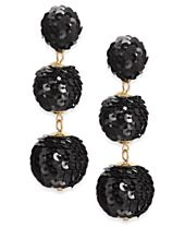INC International Concepts Gold-Tone Sequined Ball Triple Drop Earrings, Created for Macy's