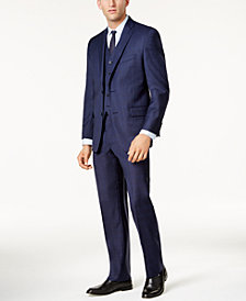 Michael Kors Men's Classic-Fit Dark Blue Tonal Plaid Vested Suit