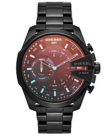 Diesel Men's Mega Chief Black Stainless Steel Bracelet Hybrid Smart Watch 48mm