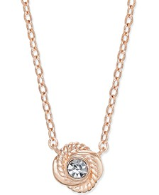 Rose Gold-Tone Crystal Knot Pendant Necklace