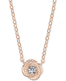 kate spade new york Rose Gold-Tone Crystal Knot Pendant Necklace