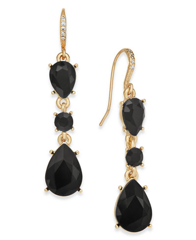Charter Club Gold-Tone Jet Stone Drop Earrings, Created for Macy's