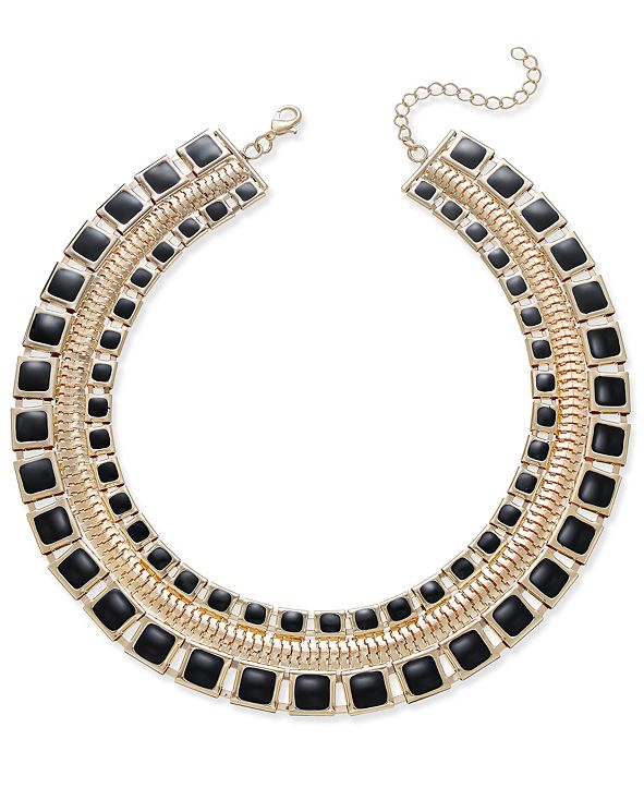 Thalia Sodi Gold-Tone & Jet Enamel Wide Collar Necklace, Created for Macy's