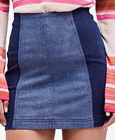 Free People Modern Femme Color Block Denim Mini